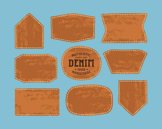 ilustraciones, imágenes clip art, dibujos animados e iconos de stock de conjunto de parches de cuero para la ropa del dril de algodón - textura de pieles