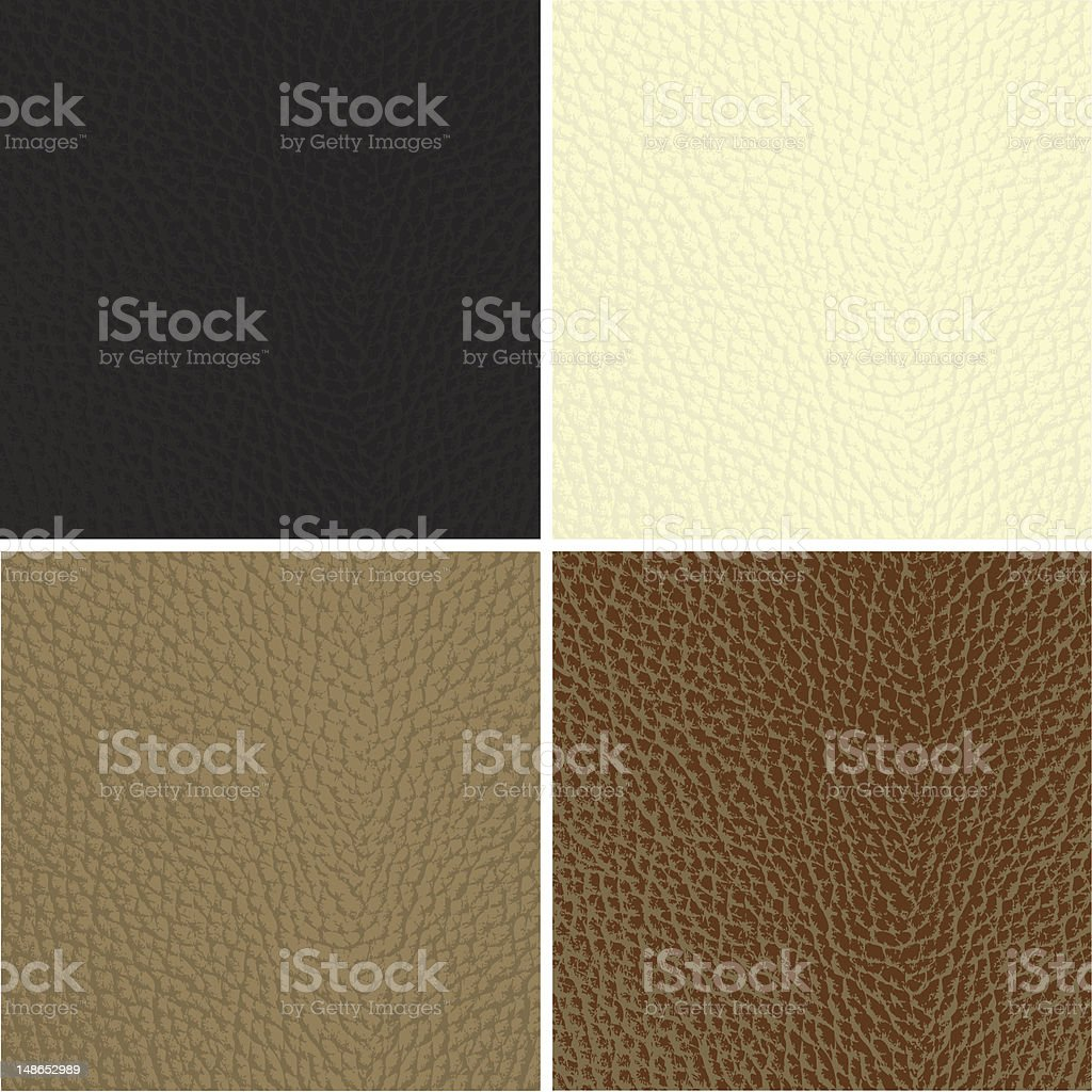 Set of leather textures vector art illustration