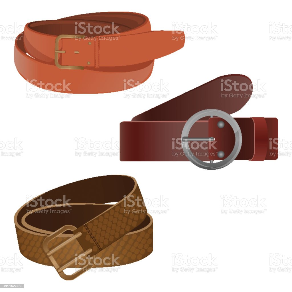 Set of leather waist belts isolated modern unisex accessories leather metal periodic table sign single object gamestrikefo Gallery