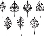 Seven different ornate black leaves for your design isolated on white background. EPS 8.