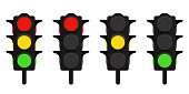 Set of LED traffic lights. Red, yellow and green traffic light. Vector illustration