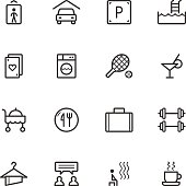 Set of leisure and entertainment icons on white background
