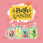 Set of flat style mason jars with cooling drinks and hand drawn lettering inscription Lemonade in speech bubble. Refreshing beverages with strawberry, lemon, lime, mint, ice cubes and water. Vector
