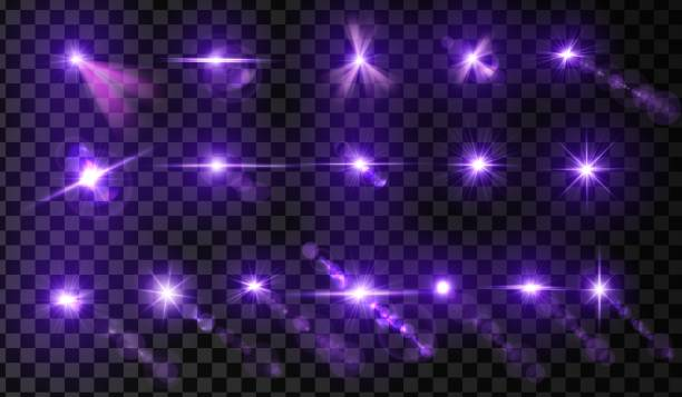 Set of lens flare. Light glow effect. Purple sparkle and glare object. Isolated vector illustration on transparent background. Set of lens flare. Light glow effect. Purple sparkle and glare object. Isolated vector illustration on transparent background. disco lights stock illustrations