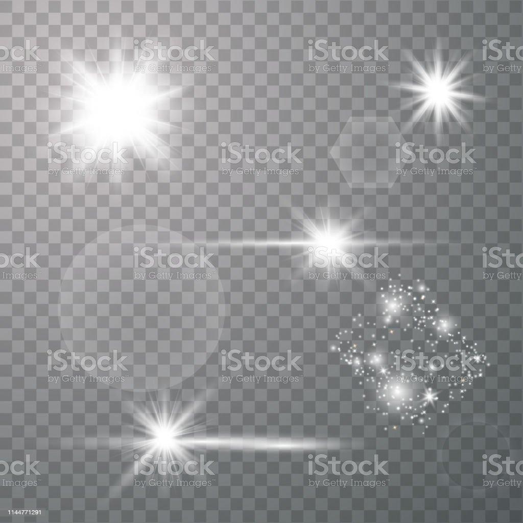Set of lens flares. Magic lights. Vector template