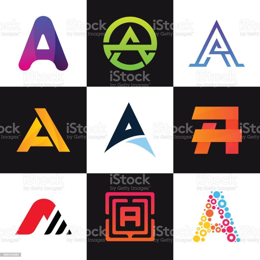 A harfi logolar şirket simge kümesi vektör tasarımı imzalar. vektör sanat illüstrasyonu