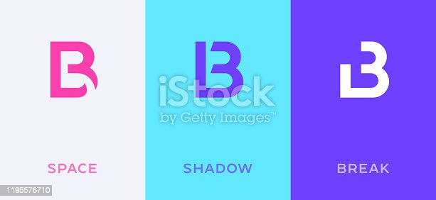 Set of letter B minimal logo icon design template elements