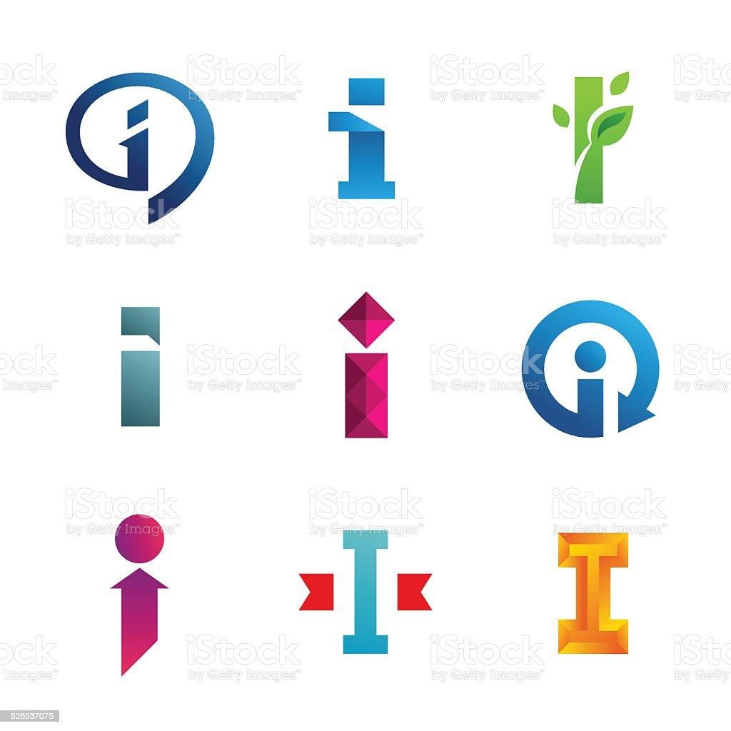 Set of letter I emblem icons design template elements vector art illustration