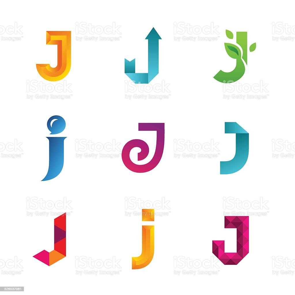 Set of letter J emblem icons design template elements. Collection vector art illustration