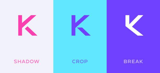 Set of letter K minimal logo icon design template elements Set of letter K minimal logo icon design template elements k logo stock illustrations