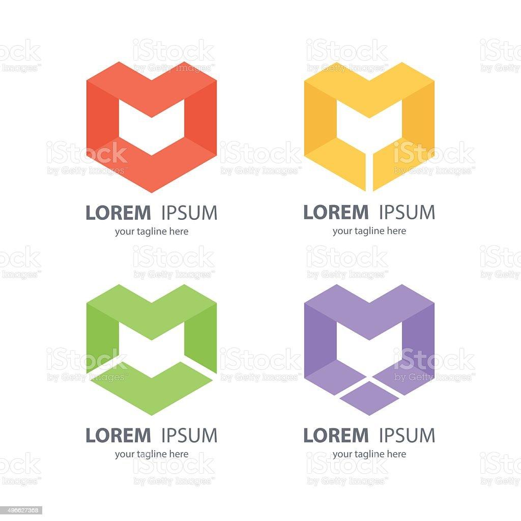 Set of letter M abstract design logos. vector art illustration