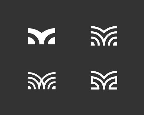 Set of letter M linear logo icon design modern minimal style illustration. Set alphabet vector emblem sign symbol mark logotype