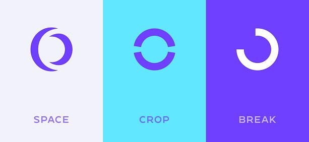 Set of letter O or number 0 minimal logo icon design template elements