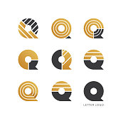 Set of letter Q logo design