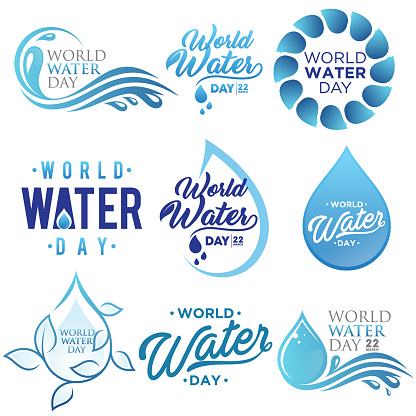 Set of letter world water day vector background for element design on the white background