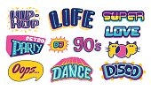 Set of lettering 90s life. Dance cartoon theme. Vector hand drawn illustration isolated on white background. Letters for use on t-shirts, party posters, cards, disco signs, retro prints, web.