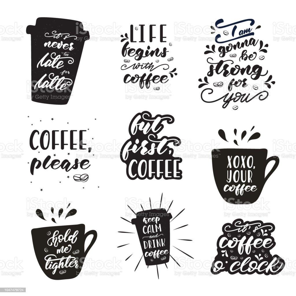 Ilustración De Conjunto De Letras Diseños Con Frases De Café