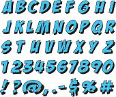 Set of letters and numbers in cartoon font - Illustration