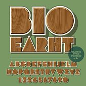 Vector set of alphabet letters, numbers and punctuation symbols. Wooden emblem for ecology activity with text Bio Earth. File contains graphic styles