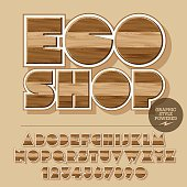 Vector set of alphabet letters, numbers and punctuation symbols. Wooden logo for ecology activity with text Eco shop. File contains graphic styles