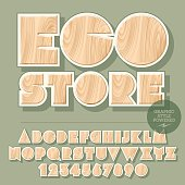 Vector set of alphabet letters, numbers and punctuation symbols. Wooden emblem for ecology activity with text Eco store. File contains graphic styles