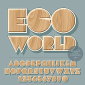 Vector set of alphabet letters, numbers and punctuation symbols. Wooden logotype for ecology activity with text Eco world. File contains graphic styles