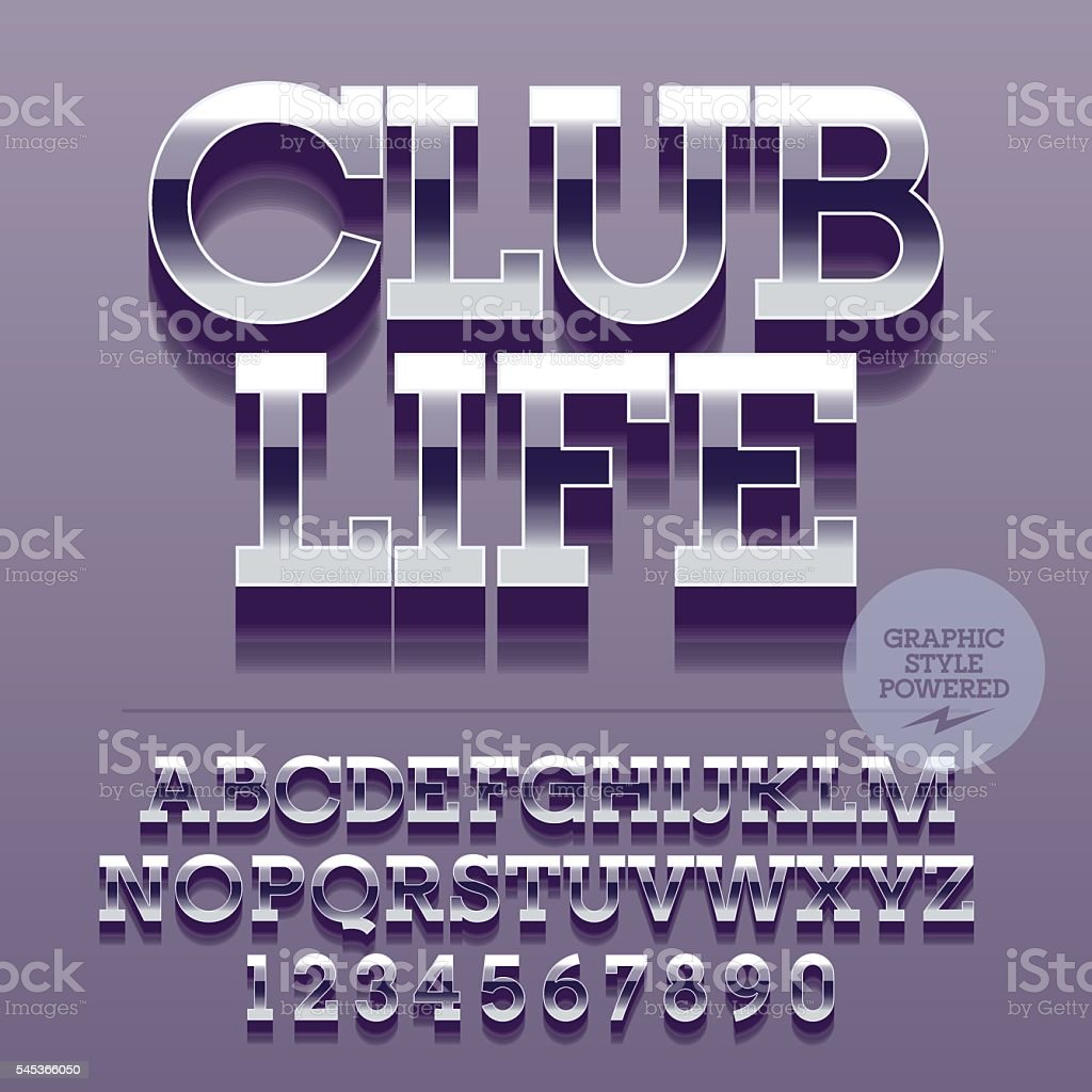 Set Of Letters Numbers And Symbols With Text Club Life Stock Vector