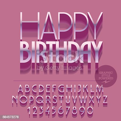 Set Of Letters Numbers Symbols With Pink Text Happy Birthday Stock