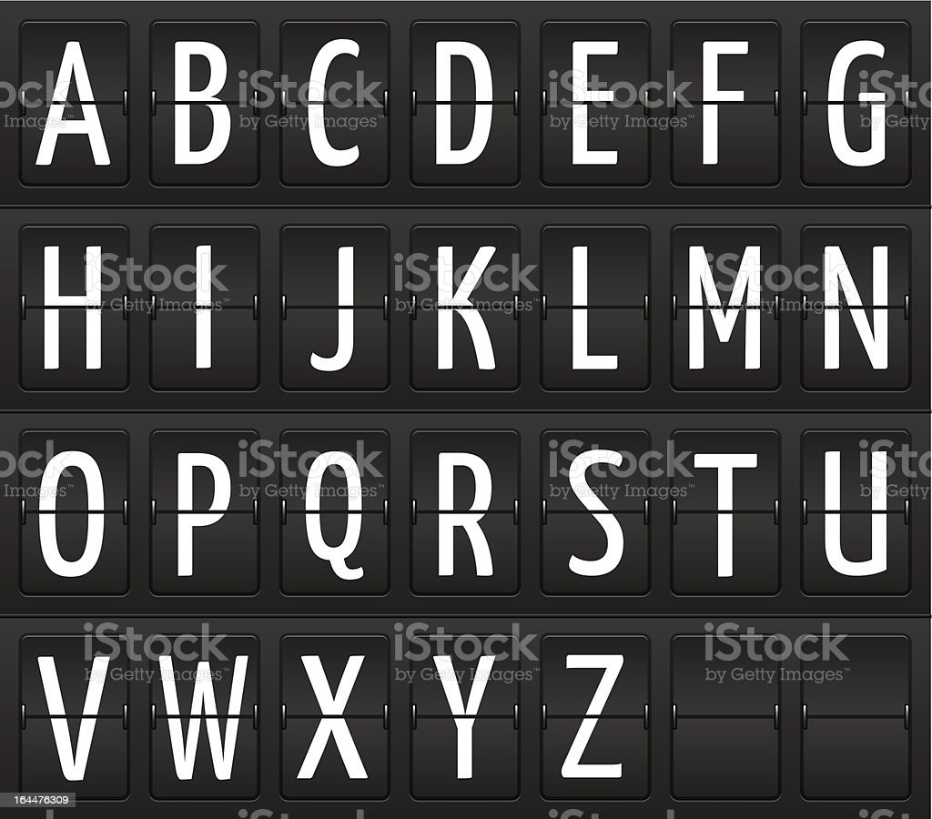 Set of letters on a mechanical information board royalty-free stock vector art