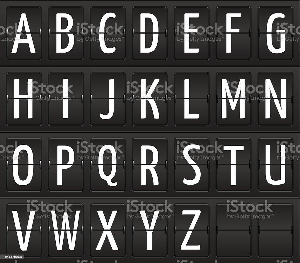 Set of letters on a mechanical information board vector art illustration
