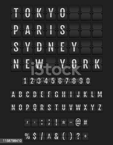 Set of letters on a mechanical timetable.  Universal analog boards font on dark background. Vector terminal flip board font for flight destination and timetable.