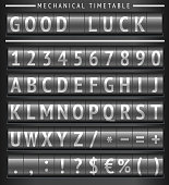 istock Set of letters on a mechanical timetable 472371297