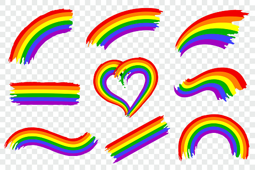 Set of LGBT pride color splash isolated on transparent background. Dynamic rough paint brush stroke in the colors of lgbt movement. Rainbow gay pride symbol. Vector illustration.