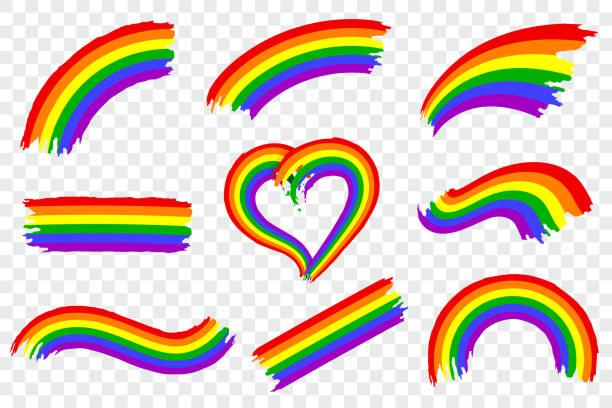ilustrações, clipart, desenhos animados e ícones de conjunto de esguicho de cor orgulho lgbt isolado em fundo transparente. pincelada de tinta áspera dinâmico nas cores do movimento lgbt. símbolo do orgulho gay de arco-íris. ilustração em vetor. - arco íris