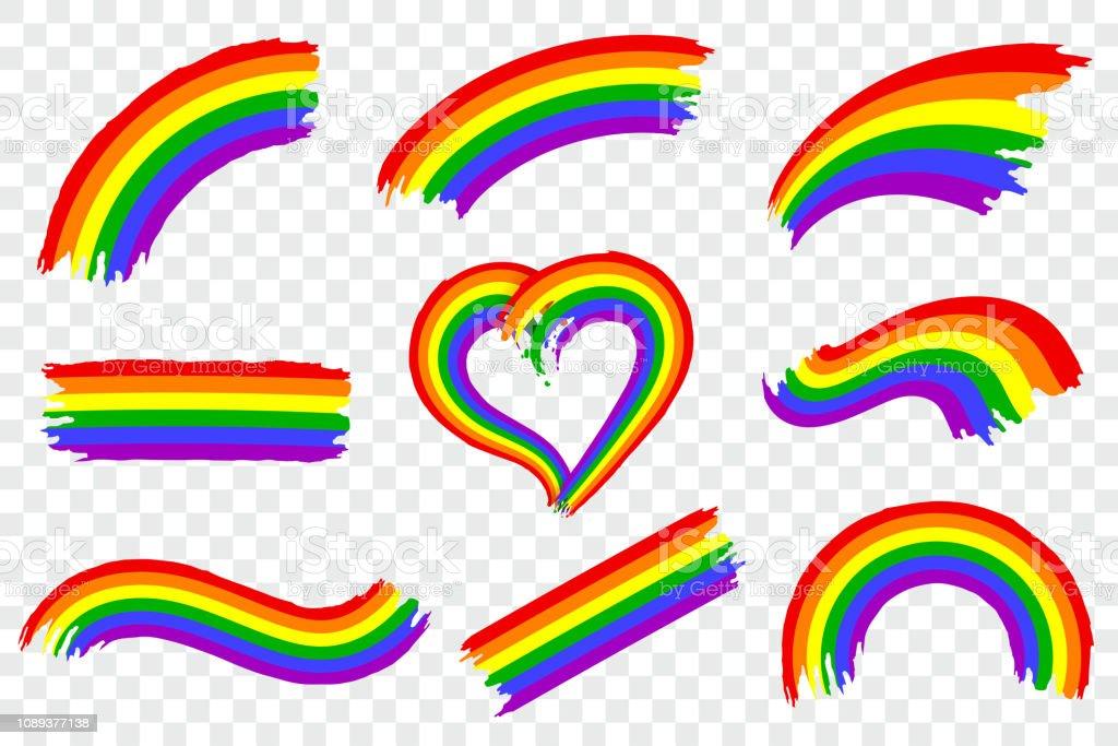 Conjunto de LGBT pride color splash aislada sobre fondo transparente. Trazo de pincel de pintura áspera dinámico en los colores del movimiento LGTB. Símbolo de orgullo gay del arco iris. Ilustración de vector. - ilustración de arte vectorial