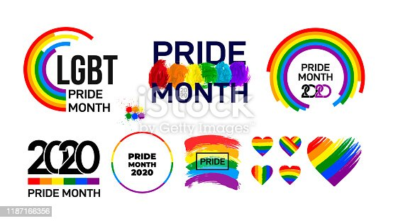 Set of LGBT Pride Month 2020. Celebrated annual. LGBT flag brush stroke. Pride day line abstract logo. Human rights and tolerance. Vector illustration isolated on white background.