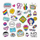 Set of LGBT symbols in cartoon style