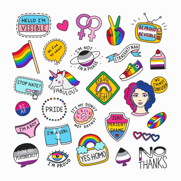 Set of LGBT symbols in cartoon style Set of LGBT symbols in cartoon style. Collection of isolated patches and cute badges. LGBT pride concept with motivational phrases. Great for stickers, badges, embroidery. gay person stock illustrations