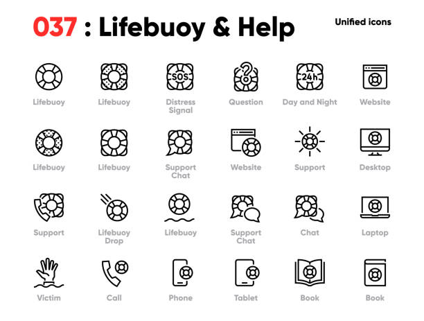 Set of Lifebuoy and Help Line Unified Icons. Includes Help, Chat, Hand, Call and other. Editable Stroke. Set of Lifebuoy and Help Line Unified Icons. Includes Help, Chat, Hand, Call and other. Pixel Perfect. Editable Stroke. lifeguard stock illustrations