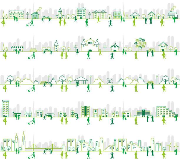 ライフスタイルの人々と都市イラスト遊園地、建物、学校、公園のセット - 家族 日本点のイラスト素材/クリップアート素材/マンガ素材/アイコン素材