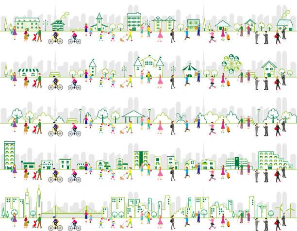 ライフスタイルの人々と都市イラストのイラストの一連 - 家族 日本点のイラスト素材/クリップアート素材/マンガ素材/アイコン素材