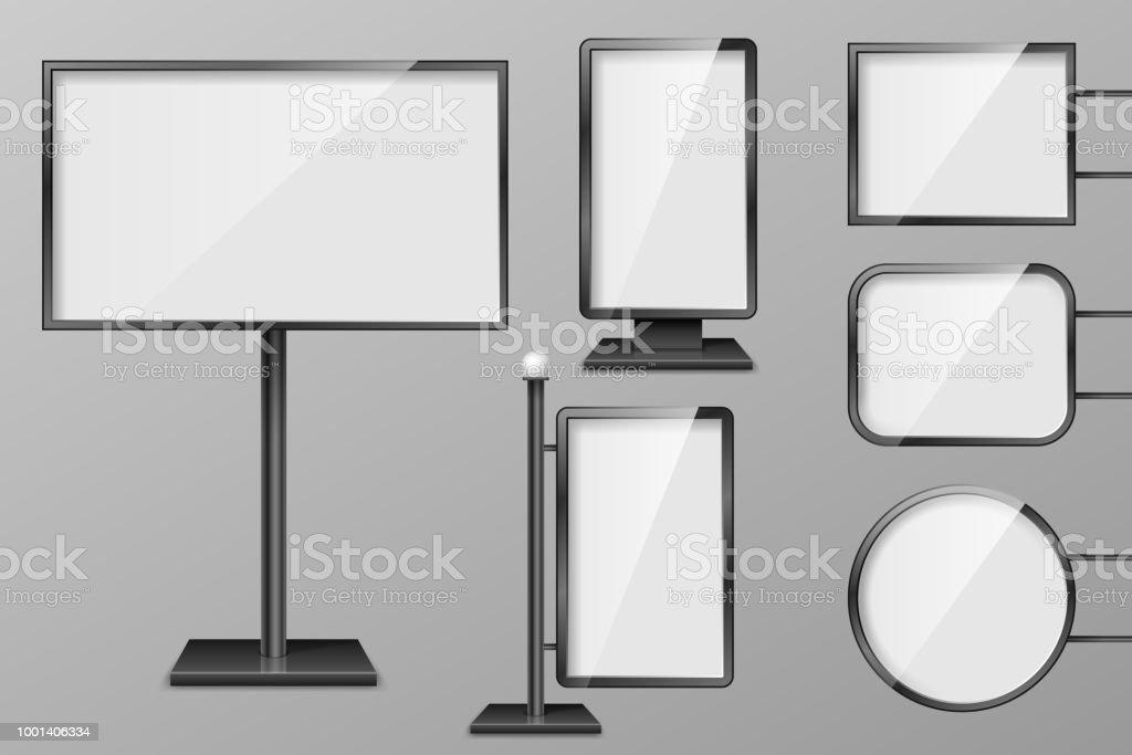set of light boxes template outdoor 3d retail lighting billboards