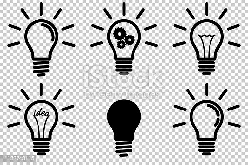Set of light bulb icon, isolated.