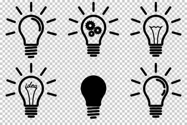 zestaw ikon żarówki, izolowany. - lampa elektryczna stock illustrations