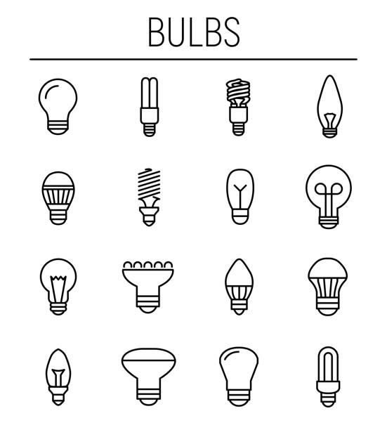 ilustrações, clipart, desenhos animados e ícones de conjunto de ícones de lâmpada em estilo moderno de linha fina. - led