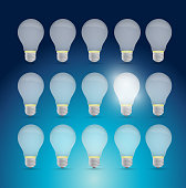 Set of light bulbs and one bright idea. illustration design over a blue background