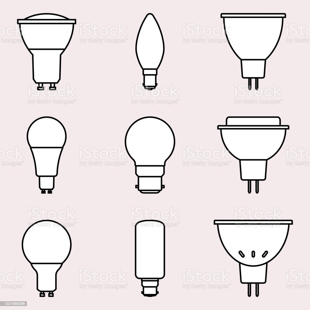 Set Of Light Bulbs With Different Types Of Holder On Light Pink  Backgrounds. Flat Vector