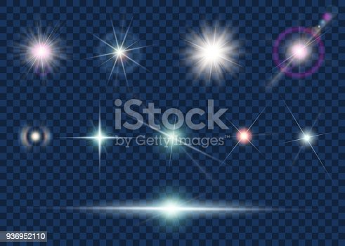 Set of light effect and star isolated on transparent background. Stock vector illustration.