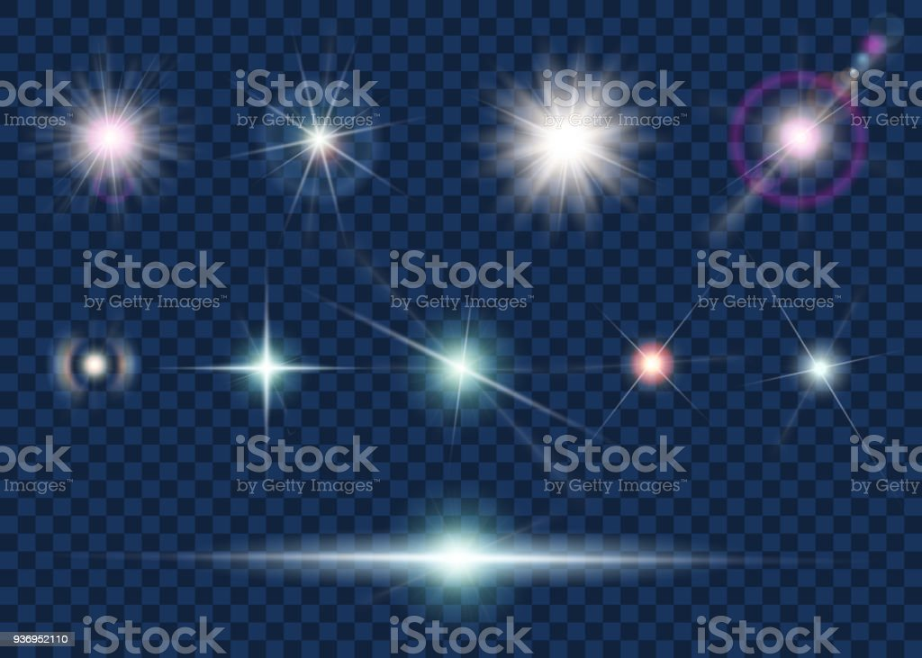 Set of light effect and star vector art illustration