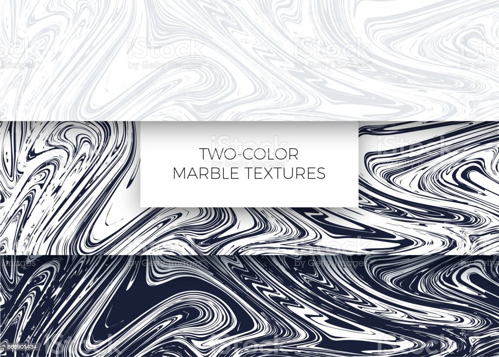 Set of light gray and dark blue marble textures. Vector backgrounds vector art illustration